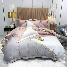 hand stitched quilts Canada - 2020 Fall Winter New Long-staple Cotton Bedding Cover Embroidered Contrast Stitching Quilt Cover Stylish Pink Gray CHA Series Bedding Set
