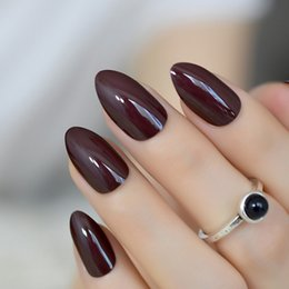 $enCountryForm.capitalKeyWord NZ - False Nails Short Oval Sharp Solid Dark Brown Fake Nails Stiletto Brownish-black Pointed Pure Color UV Gel Almond Wear Full Tips
