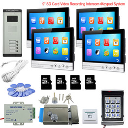 """Rfid Entry Card Australia - Access Control Keyboard System 4 Apartments Video Door Entry With Lock 9"""" Color 8GB SD Card Recording Rfid Intercom Doorbell Kit"""