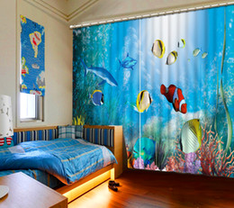 $enCountryForm.capitalKeyWord NZ - Ocean World Customized Floral print Luxury Decor 3D Blackout Window Curtain Drapes For Living room room Hotel Wall Tapestry Cortinas