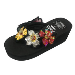 d7841b1b1550 Women slippers Ladies Girls Bling Floral Wedges Flip Flops Sandals Slippers  Beach Shoes fashion Zapatos de mujer#g9