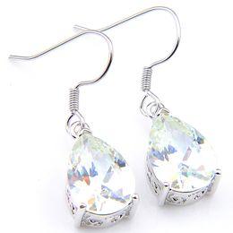 925 Dangling Earrings Canada - Wholesale 6 Pcs Luckyshinene Earring For Women White Cubic Zirconia Earrings 925 Silver Long Dangle Earrings Wedding Earrings