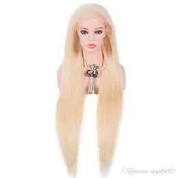 $enCountryForm.capitalKeyWord Australia - 24inch Bolin Stock 9A Grade Brazilian Virgin Hair Straight Natural Part Full Lace Wig #613 Long Blonde Human Hair Wig