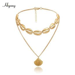 $enCountryForm.capitalKeyWord Australia - HIYONG Bohemian Gold Shell Necklace Choker Cowrie Hawaiian Beach Sea Shell Tassel Double Layer Gold Chain For Women Gift