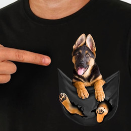 Wholesale German Shepherd In Pocket T Shirt Dog Lovers Black Cotton Men S XL US Supplier mens pride dark t shirt fan pants t shirt