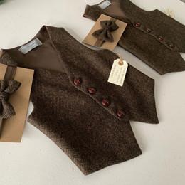 $enCountryForm.capitalKeyWord Canada - Custom Made Boy's Formal Wear Brown Herringbone Single Breasted Vest Fashion Kids Clothes For Wedding And Party