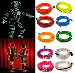glow costumes Canada - 5m Glow EL Wire Cable LED Neon Christmas Dance Party DIY Costumes Clothing Luminous Car Light Decoration Clothes Ball Rave