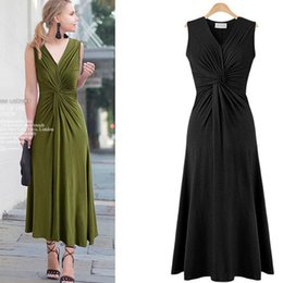 long sleeve maxi dresses Australia - Twisted Women Sleeveless Dresses Solid Fashion Large Size Sexy V Neck Maxi Dress in 3 Colors Summer Party Dresses