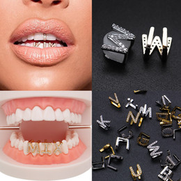 Wholesale Gold & White Gold Iced Out A-Z Custom Letter Grillz Full Diamond Teeth DIY Fang Grills Bottom Tooth Cap Hip Hop Dental Mouth Teeth Braces