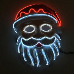 mask santa claus face 2020 - Christmas LED Mask Purge Masks Santa Claus Election Mascara Costume DJ Party Light Up Masks Glow In Dark cheap mask sant