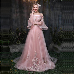 d1f135fed It's Yiiya Pink Flowers Floral Illusion Print Lace Up A-line Elegant Evening  Dresses Floor Length Party Gown Evening Gowns Lx032 Y19042701