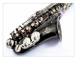 Discount brass black saxophones - Free Shipping SUZUKI New Alto Saxophone Brass Black Nickel Plated Saxophone Eb Tune E-flat Musical Instruments with Acce