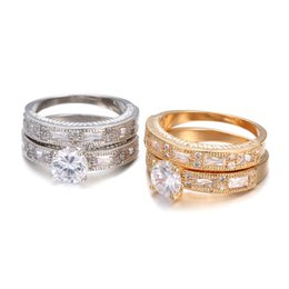$enCountryForm.capitalKeyWord Australia - New Wedding double Rings For Women Trendy Party Gift Engagement Romantic suit Rings Fashion Female Jewelry #R81017