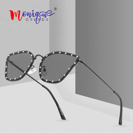 Gradient Color Sunglasses Australia - 2019 New Metal Cat eye Sunglasses Women Brand Designer Retro Rivet Candy Color Gradient Sun Glasses Men Oculos De Sol Feminino