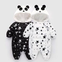 infant baby boy winter overall NZ - spring Winter Panda Baby Rompers Overalls Bodysuit Clothes Jumpsuit Newborn Girl Boy Duck Down Snowsuit Kids infant Snow Wear