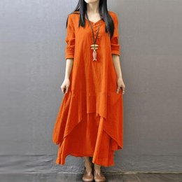 long sleeve maxi dresses Australia - Fashion Women Peasant Ethnic Boho Autumn Cotton Linen Long Sleeve Maxi Dress Gypsy Shirt Dress Kaftan Tunic Size M-5xl W406