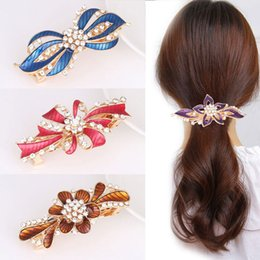 Asian Hair Clips High Quality Australia - hairpin Hair Clips Barrettes woman Pearl drill drops ornaments trays oil red hairpins wholesale on sale high quality free shipping