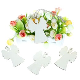 christmas tree angel Canada - 10Pcs Wooden Angel Shaped Christmas Hanging Ornaments For Christmas Tree Party Decor
