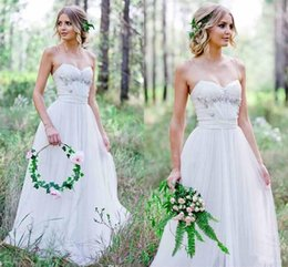 $enCountryForm.capitalKeyWord Australia - 2019 Cheap A Line Simple Tulle Wedding Dresses with Beaded Sweetheart Spaghetti Garden Bridal Wedding Gowns Country
