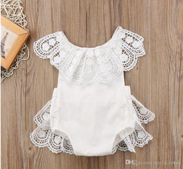 baby white lace romper Australia - 2019 New Summer Baby Girl Lace Rompers White Backless Jumpsuits Cute Infant Girls Onesies Toddler One-Piece Climbing Romper 70-80-90-100