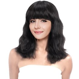 cheap human hair lace fronts UK - Glueless Natural Wave With Bangs Brazilian Human hair Cheap Lace Front and Full Lace Wigs With baby hair Natural Color For Black Women