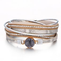 titanium crystal agate druzy quartz UK - Multilayer Leather Wrap Bracelet With Magnetic Clasp Handmade Vintage Rhinestone Druzy Bracelets For Women Personalized Gifts
