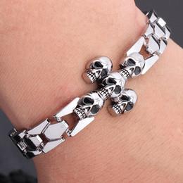 $enCountryForm.capitalKeyWord NZ - Fashion Man Stainless Steel Skull Bracelet Bangle Silver Chain Cuff Bracelets Hip Hop Punk Bracelet Gift