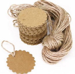 Discount gift tags labels - Round Scalloped Kraft Paper Card Gift Tag DIY Tag Price Label with 10M Jute Twine (Brown) 500pcs 60mm
