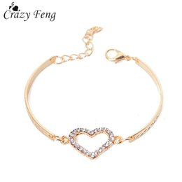 Provided Concise Women Jewelry Alloy Hollowed Love Heart Bracelet Wrist Chain Bangle Gift Suitable For Men And Women Of All Ages In All Seasons Bracelets & Bangles