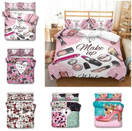 Set Designs Canada - Lipstick perfume Fashion lady Design Bedding Set 2PC 3PC Duvet Cover Set Of Quilt Cover & Pillowcase Twin Full Queen King Size