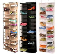 Venta al por mayor de Útil 26 hogares sección de calzado de almacenamiento en rack sostenedor del organizador, plegable puerta del armario que cuelga de ahorro de espacio con 3 Color