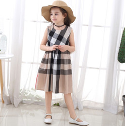 $enCountryForm.capitalKeyWord Australia - Kids Baby Girls Summer check gingham Princess girl summer dress Party Pageant Dresses baby girl clothes