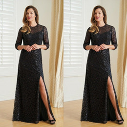 EvEning guEst drEssEs online shopping - Classical Mother of Bride Dresses Boat Neck Lace Applique Sequins Evening Gowns With Long Sleeve Back Split Wedding Guest Dresses