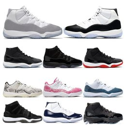 mens basketball shoes size 11 Australia - 2019 mens Basketball Shoes 11s Snakeskin VAST GREY Concord 45 23 GAMMA BLUE 11 Bred womens sports sneaker trainers Size US 5.5-13