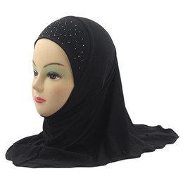 Kids Girls Muslim Hijab Islamic Shawls Beautiful Drill Simple Style Soft and Stretch about 45cm for 3 to 8 years old Girls