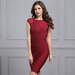 $enCountryForm.capitalKeyWord Australia - 2019 Summer Wine Red Bandage Dress Women Black O Neck Short Sleeve Mesh Runway Club Dress Celebrity Evening Party Dress Vestidos