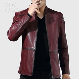 $enCountryForm.capitalKeyWord NZ - Spring autumn men black wine red genuine leather real lambskin casual jackets coat deri ceket jaqueta de couro LT2517 free ship