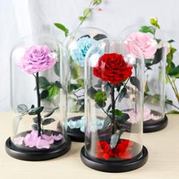 Ewige Lebenblume beendete Glasabdeckung hochwertige Geschenkbox Weihnachtsgeschenk des neuen Jahres rosafarbene Geschenkgeschenkgroßhandelsfreunde Freundfreund husban