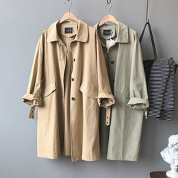 Wholesale peacoat women for sale - Group buy Long Khaki Trench Coat Women Spring Autumn Outerwear Loose Coat Windbreaker Female Casual Plus size Peacoat Outerwear Female
