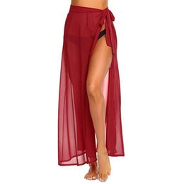 a873e38ea1 long beach dress Womens Multifunction Cover up Sarong beach wrap red High  Sexy Split Swimsuit Cover-up Smock Dress pareo Skirt