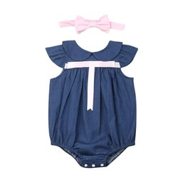 infant suits wholesales Canada - 2019 Toddler Infant Baby Girls Bodysuit Casual Sleeveless Denim Bow-knot Body Suit Headband Outfits Baby Clothes