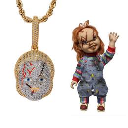 Necklaces Pendants Australia - Movies Horror Chucky Pendant Necklace Men Bling Cubic Zirconia 14K Gold Plated Cool Hip Hop Jewelry Mens Brand Designer Necklaces