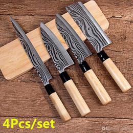 Chinese Kitchen Knife Set Australia - 4Pcs set Stainless Steel Kitchen Cleaver Butcher Sashimi Knife Chef Knife Slicing Utility Tools Knife Set