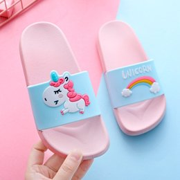 flip flops children Canada - Children Slippers For Boys Girls Home Slippers Flip Flop Kids Indoor Cute Sandals Cartoon Unicorn Rainbow Non-slip Beach Shoes