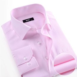 long sleeve collar work dress 2019 - New Summer 2017 Long Sleeve Twill Pure Color Business Dress Shirts Formal Work Shirts Men Office Top And Ties discount l