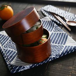 $enCountryForm.capitalKeyWord NZ - 2 Layer Round Wood Lunch Box Japanese Sushi Bento LunchBox spoon Portable Food Container Fruits Storage Tableware Dinnerware Set C18112301