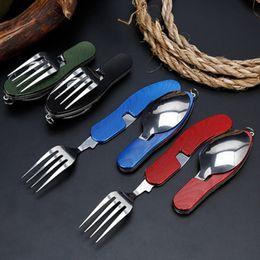 4 en 1 Vajilla al aire libre (tenedor / cuchara / cuchillo / abrelatas de la botella) Camping Acero inoxidable Kits de bolsillo plegable para senderismo Viaje de supervivencia Zza920 en venta