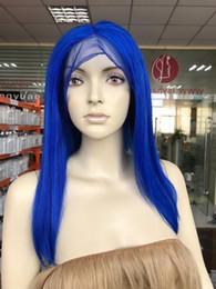 Blue Human Hair Australia - fashion women's straight human hair wigs blue 100% virgin front lace 150% density women's hairpiece human hair wigs