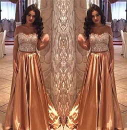$enCountryForm.capitalKeyWord Australia - Two Pieces Bling Gold Prom Dresses New 2019 Sexy off Shoulder Top Sequins Crystals Beads Girl Long Satin Homecoming Dress Evening Party Gown
