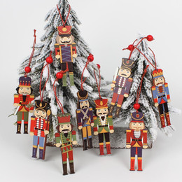 soldier cartoon NZ - Wooden 3Pcs Wooden Nutcracker Soldier Christmas Decoration Pendants Ornaments for Xmas Tree Party New Year Decor Kids Doll